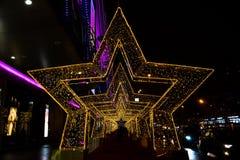 Decoración del Año Nuevo 2018 y de Christmass en las calles de Moscú Fotografía de archivo libre de regalías