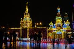 Decoración del Año Nuevo 2018 y de Christmass en las calles de Moscú Imágenes de archivo libres de regalías
