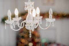 Decoración del Año Nuevo y de la Navidad del invierno en la vida grande blanca r Foto de archivo libre de regalías