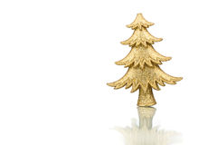 Decoración del abeto de la Navidad del oro aislada en el fondo blanco Fotografía de archivo libre de regalías