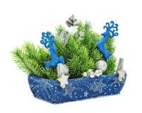 Decoración del azul de la Navidad Año Nuevo del día de fiesta Foto de archivo libre de regalías