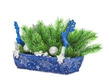 Decoración del azul de la Navidad Decoraciones del Año Nuevo del día de fiesta Imágenes de archivo libres de regalías