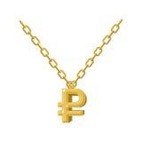 Decoración del collar de la rublo del oro en cadena Symbo costoso de la joyería stock de ilustración