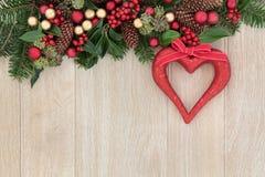 Decoración del corazón de la Navidad Foto de archivo libre de regalías