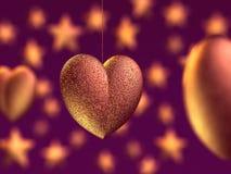 Decoración del corazón de la tarjeta del día de San Valentín Imagen de archivo libre de regalías