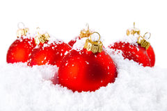 Decoración del día de fiesta de la Navidad con la nieve blanca Fotografía de archivo