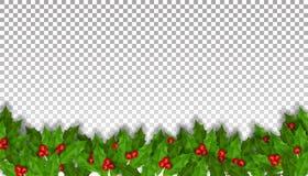 Decoración del día de fiesta de la Navidad con acebo ilustración del vector