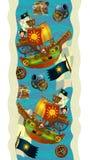 Decoración del diseño - con los barcos y los piratas - papel pintado - ejemplo para los niños ilustración del vector