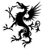 decoración del diseño del Vintagegriffin-dragón en estilo gótico stock de ilustración