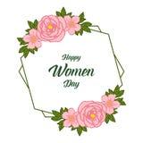 Decoración del ejemplo del vector del día feliz de las mujeres para los marcos florales de la hoja del verde de las ilustraciones stock de ilustración