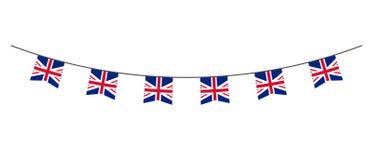 Decoración del empavesado en colores de la bandera BRITÁNICA Guirnalda, banderines en una cuerda para el partido, carnaval, festi stock de ilustración
