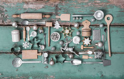 Decoración del estilo rural del vintage para la Navidad con madera y el equipo Foto de archivo libre de regalías