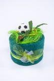 Decoración del fútbol de la toalla Foto de archivo libre de regalías