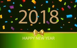 Decoración 2018 del fondo de la Feliz Año Nuevo Confeti 2018 de la plantilla del diseño de la tarjeta de felicitación ilustración del vector