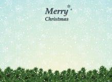 Decoración del fondo de la Navidad con los árboles y los copos de nieve libre illustration