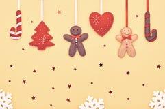 Decoración del fondo de la Navidad Diseño hecho a mano Imagen de archivo