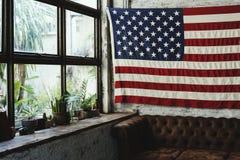Decoración del hogar de la bandera de América en estilo retro Fotos de archivo