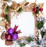 Decoración del marco del ornamento de la Navidad Foto de archivo libre de regalías
