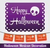 Decoración del mexicano del vector del feliz Halloween Imágenes de archivo libres de regalías
