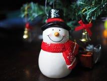 Decoración del muñeco de nieve y de la Navidad Fotos de archivo