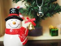Decoración del muñeco de nieve y de la Navidad Fotografía de archivo