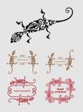 Decoración del ornamento del estampado de flores del lagarto Foto de archivo