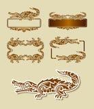 Decoración del ornamento floral del cocodrilo Imagen de archivo libre de regalías