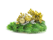 Decoración del oro de la Navidad Año Nuevo del día de fiesta Imágenes de archivo libres de regalías