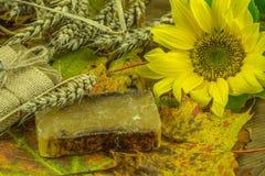Decoración del otoño con el jabón hecho a mano Foto de archivo