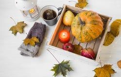 Decoración del otoño con la vela, la calabaza, la linterna, la taza de té y la caída Imagenes de archivo