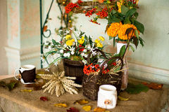 Decoración del otoño de un interior Fotos de archivo libres de regalías