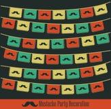 Decoración del partido del bigote del inconformista Imágenes de archivo libres de regalías