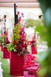 Decoración del pasillo de la ceremonia de boda Foto de archivo libre de regalías