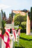 Decoración del primer con las cintas rosadas del color Imagen de archivo libre de regalías