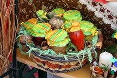 Decoración del tarro del otoño Foto de archivo libre de regalías