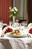 Decoración del vector de la recepción de la cena de boda Fotos de archivo libres de regalías