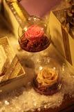 Decoración del vidrio de las rosas Foto de archivo
