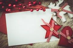 Decoración del vintage para la tarjeta de Navidad Fotos de archivo