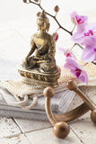 Decoración del zen para el centro del masaje Fotos de archivo