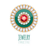 Decoración elegante de la joyería del vector de las piedras preciosas Imagenes de archivo