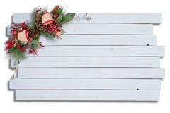 Decoración elegante rústica de la Navidad en la madera blanca Fotografía de archivo