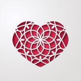 Decoración en forma de corazón ornamental abstracta 3d con la sombra Corazón adornado de encaje del recorte Tarjeta de felicitaci Imagen de archivo libre de regalías
