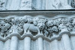 Decoración en la fachada de la iglesia en Visby, detalle arquitectónico foto de archivo libre de regalías