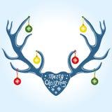 Decoración en los cuernos del reno, ejemplo de la Navidad del vector stock de ilustración