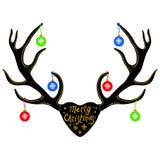 Decoración en los cuernos del reno, silueta de la Navidad aislada en blanco libre illustration