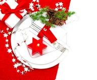 Decoración festiva del cubierto de la tabla de la Navidad Fotografía de archivo libre de regalías