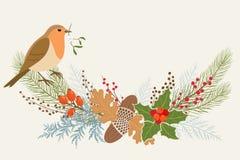 Decoración floral de la Navidad Fotografía de archivo libre de regalías