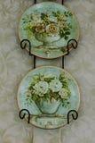 Decoración floral de la pared de la placa del vintage stock de ilustración