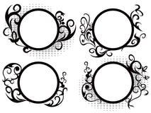 Decoración floral del marco del círculo Imagenes de archivo