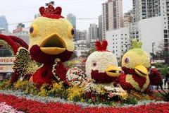 Decoración floral en la forma de pájaros Foto de archivo libre de regalías